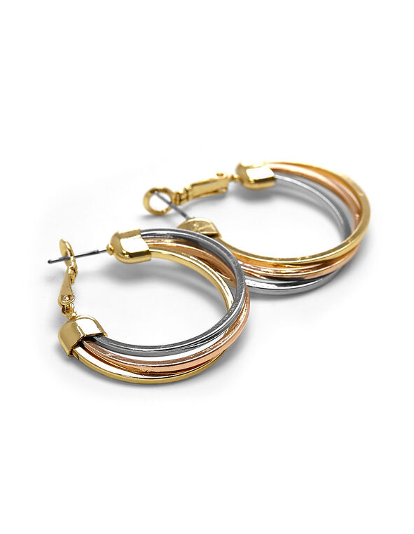 Tri Metal Hoop Earring, Gold/Rose Gold/Silver, hi-res