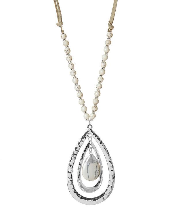 Neutral Stone Teardrop Necklace, Neutral, hi-res