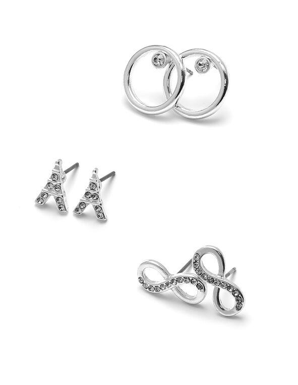 Silver Trio Earring Set, Silver, hi-res
