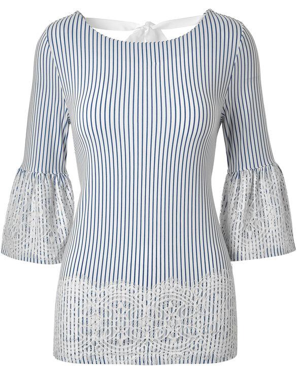 Stiped Lace Trim Top, White/Navy Stripe, hi-res