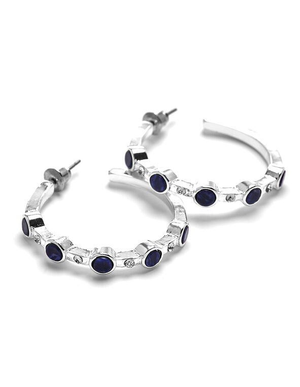 Blue Stone Hoop Earring, Blue, hi-res