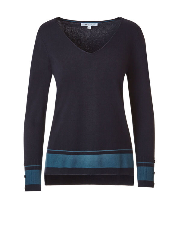 Navy Striped V-Neck Sweater, Colour Block, hi-res