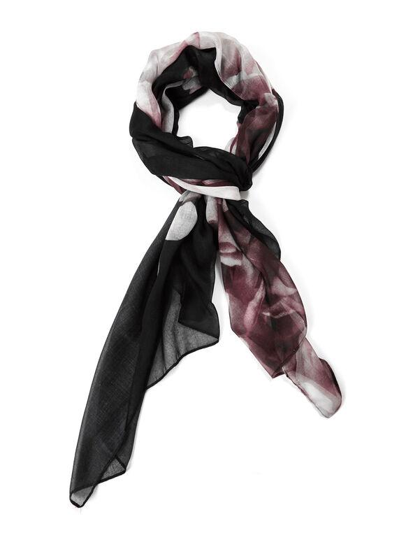 Black Floral Oblong Scarf, Black/Pink, hi-res
