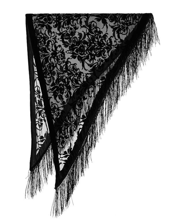 Black Triangle Velvet Burnout Wrap, Black, hi-res