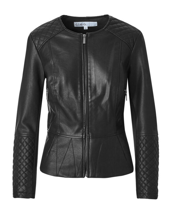 Black Quilt Stitch Faux Leather Jacket, Black/Silver, hi-res