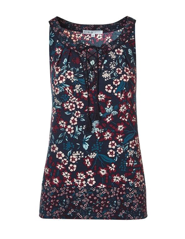 Claret Floral Tassel Top, Navy/Claret/Pink Sand, hi-res