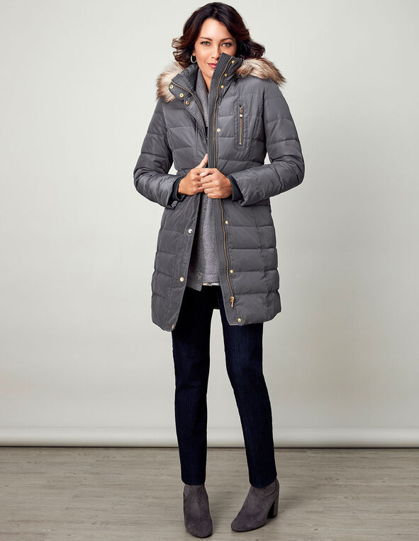 Grey Long Down Belted Jacket, Grey, hi-res