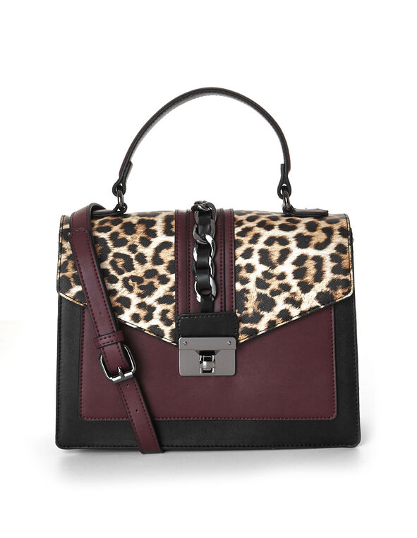 Animal Printed Square Handbag, Burgundy/Neutral, hi-res
