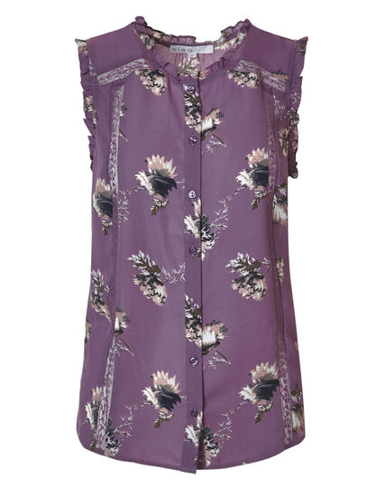 Orchid Floral Ruffle Blouse, Orchid Print, hi-res