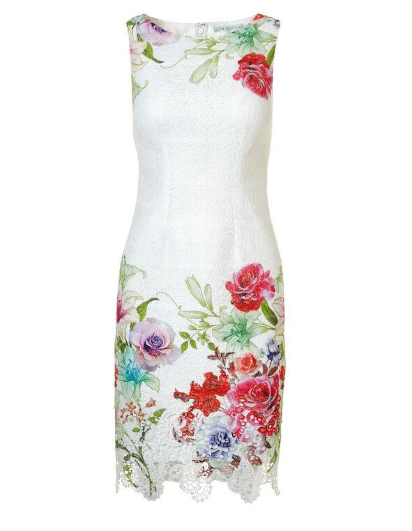 Floral Sheath Dress, White, hi-res