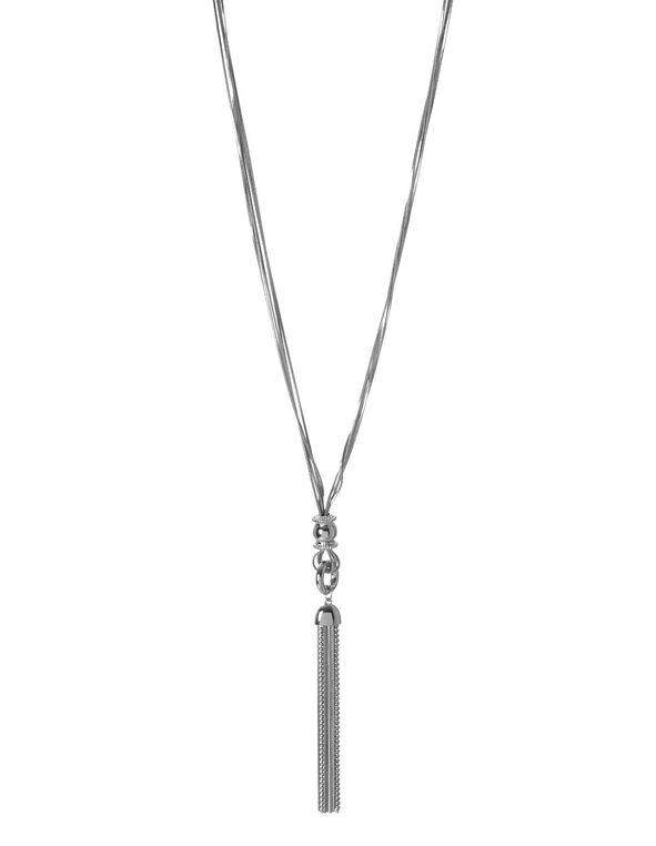 Silver Tassel Necklace, Silver, hi-res