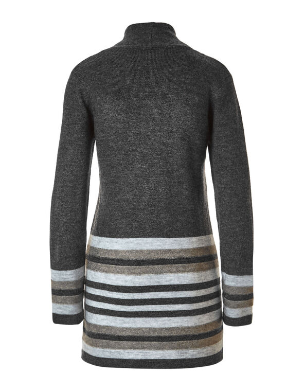 Mock Neck Open Coatigan Sweater, Grey, hi-res