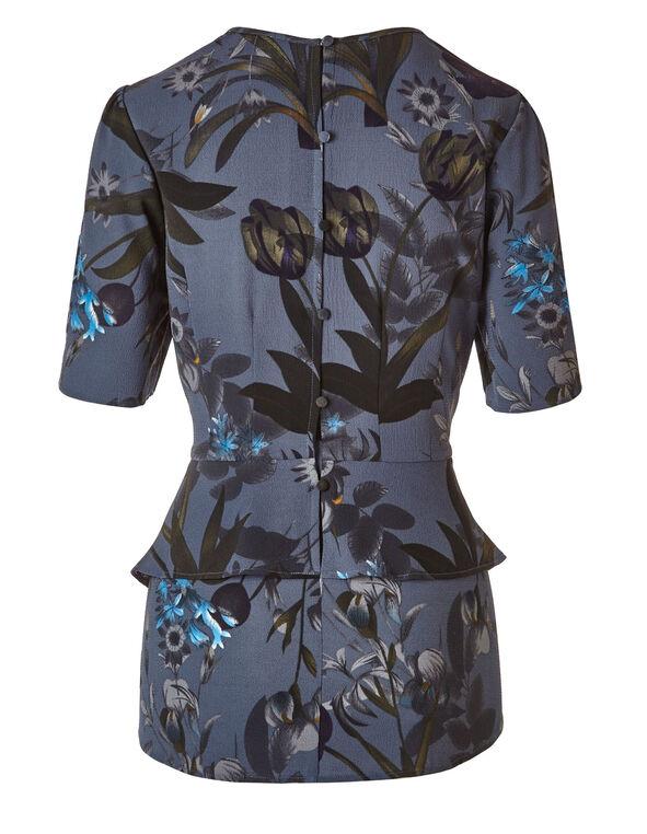 Blue Floral Peplum Blouse, Blue, hi-res