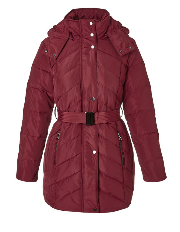 Burgundy Short Belted Down Jacket, Burgundy, hi-res