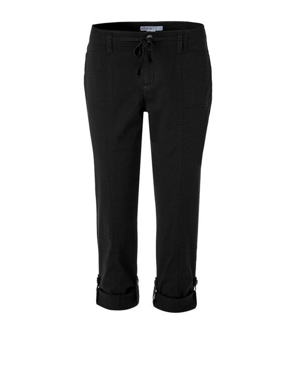 Black Poplin Roll Up Pant, Black, hi-res