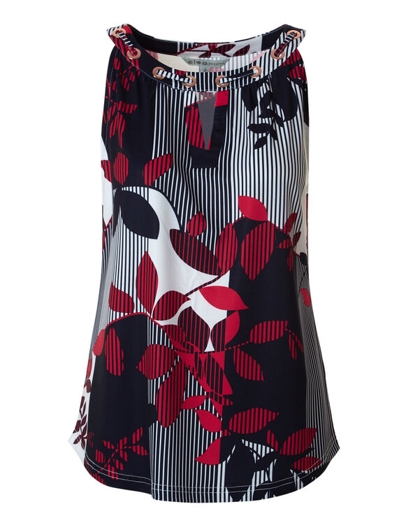 Floral Mixed Print Halter Top, Red/White/Navy, hi-res
