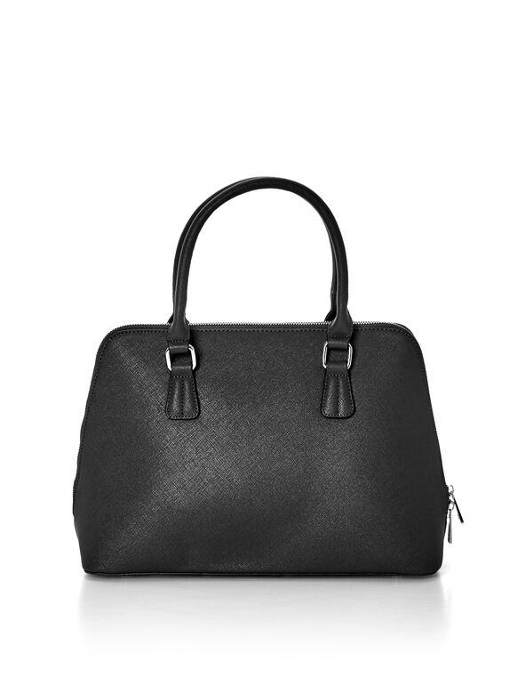 Black Saffiano Dome Bag, Black/Silver, hi-res