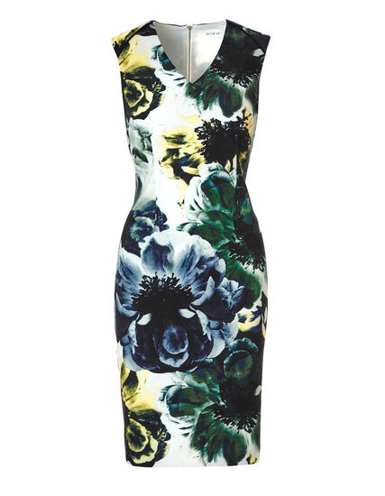 Floral Zipper Shift Dress, Green/Navy, hi-res