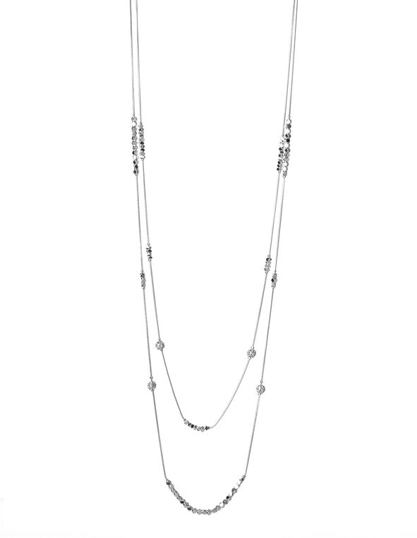 Silver Delicate Crystal Necklace, Silver, hi-res