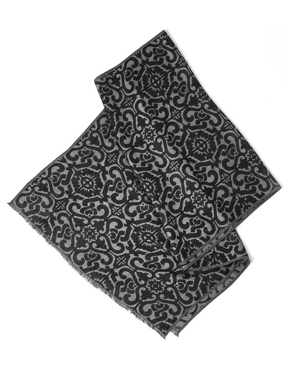 Black Scroll Lurex Scarf, Black, hi-res