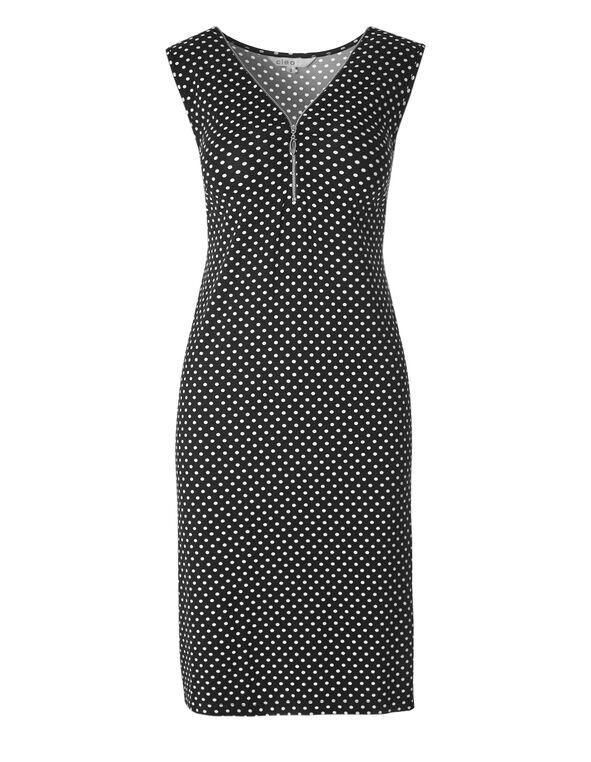 Black Dotted Zipper Front Dress, Black/White, hi-res