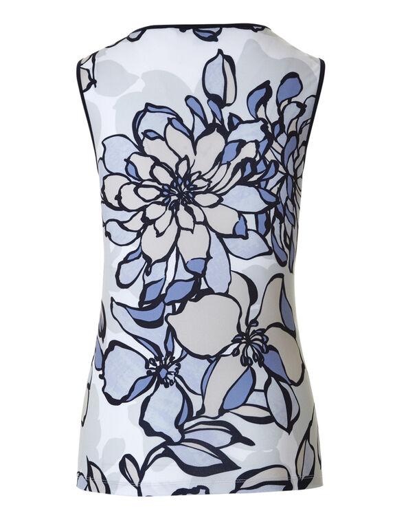 Blue Floral Crepe Top, Blue Print, hi-res