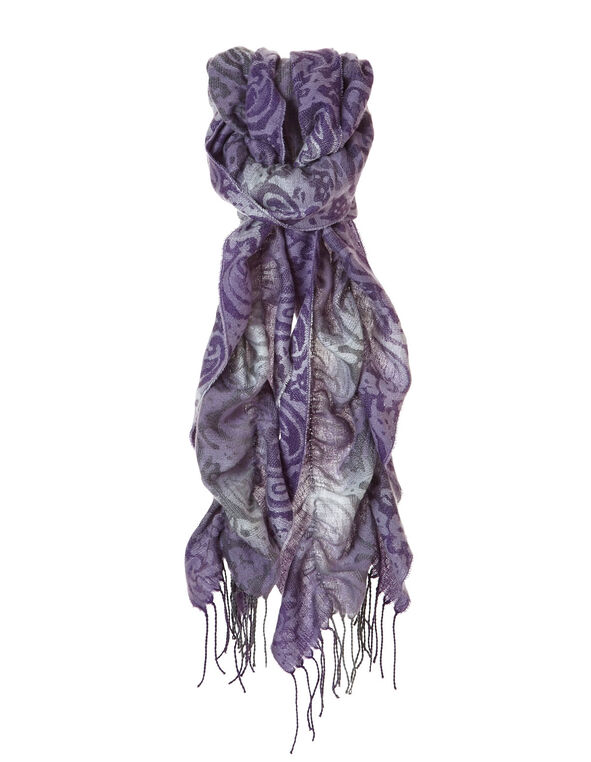Purple Paisley Boa, Purple, hi-res