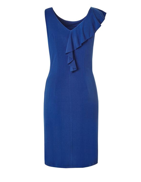 Blue Ruffle Sheath Dress, Blue, hi-res