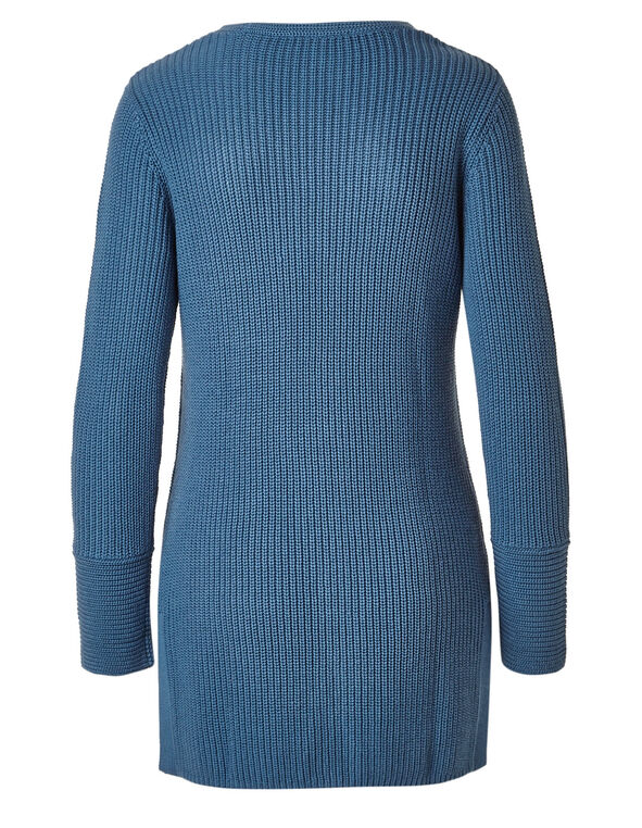 Water Mixed Stitch Tunic Sweater, Water, hi-res
