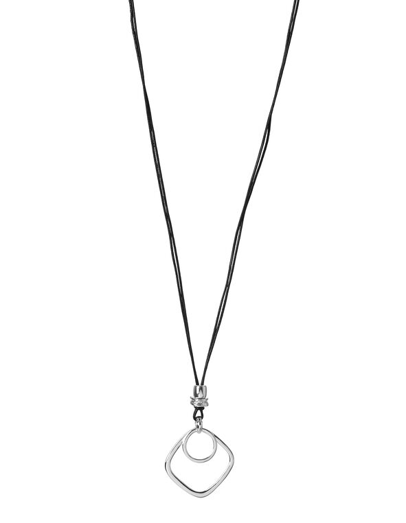 Square Pendant Necklace, Silver, hi-res