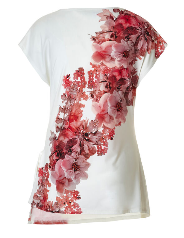 Ivory Floral Ruched Top, Ivory Print, hi-res