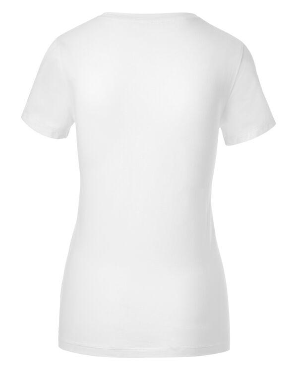 White Cotton V-Neck Tee, White, hi-res