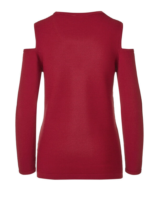 Red Cold Shoulder Ottoman Sweater, Winter Red, hi-res