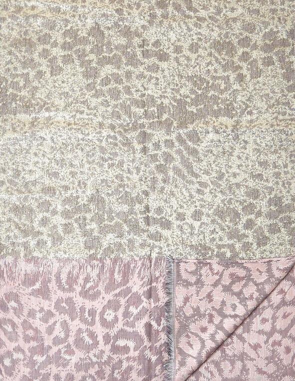Pink Leopard Lurex Scarf, Grey/Pink, hi-res