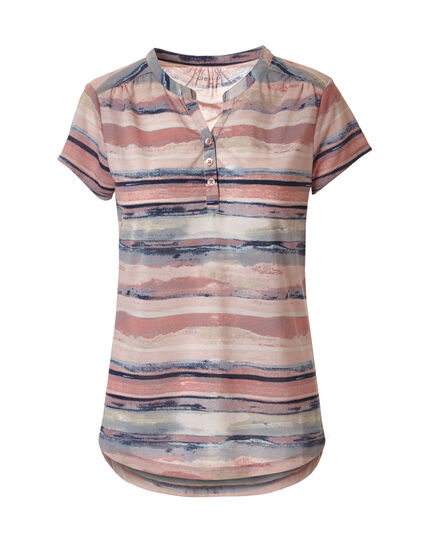 Pink Stripe Button Front Tee, Pink/Clay, hi-res