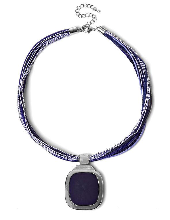 Blue Reversible Pendant Necklace, Blue, hi-res