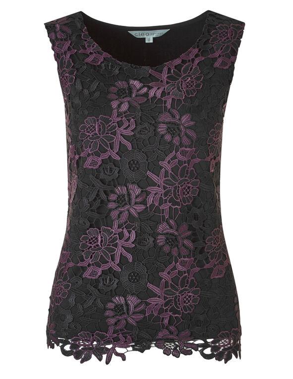 Purple Printed Lace Blouse, Purple/Black, hi-res
