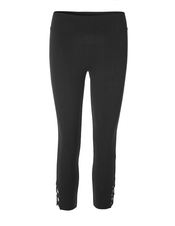 Black Cotton Cutout Capri, Black, hi-res
