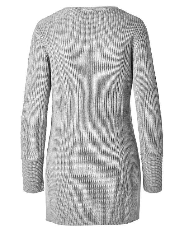Grey Mixed Stitch Tunic Sweater, Grey, hi-res