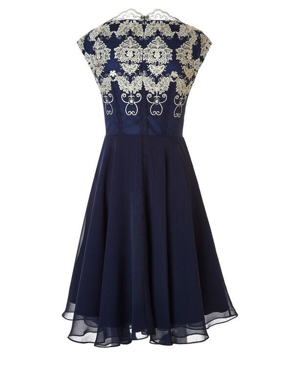 Navy Chiffon Circle Skirt Dress, Navy, hi-res