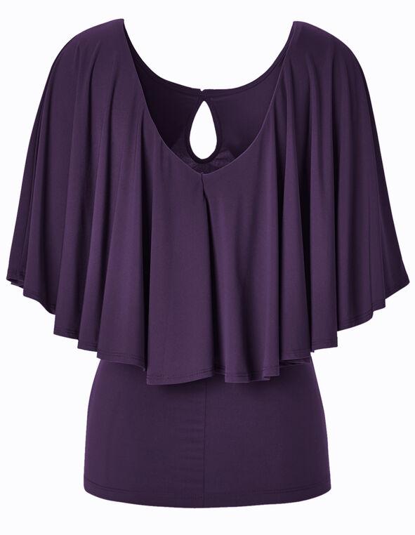 Purple Capelet Top, Purple, hi-res