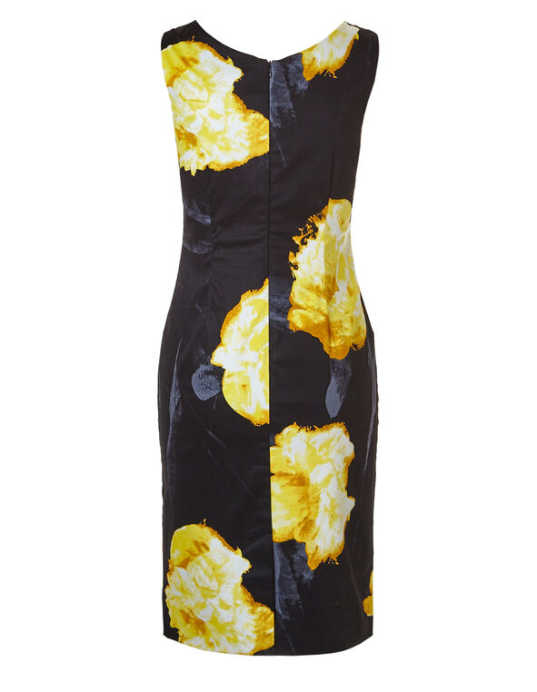 Black Floral Dress With Pockets, Black/Yellow, hi-res