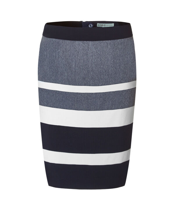 Chambray Colour Block Pencil Skirt, Navy/Chambray, hi-res