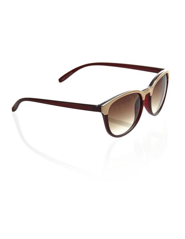 Metal Detail Wayfarer Sunglasses, Burgundy, hi-res