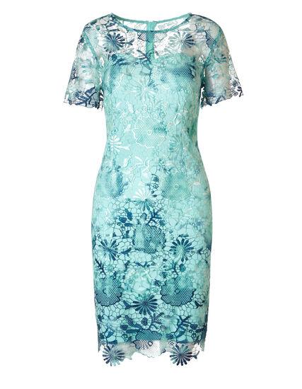 Mint Lace Overlay Dress, Mint/Blue, hi-res