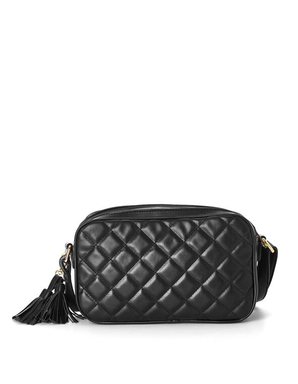 Black Quilted Crossbody, Black, hi-res