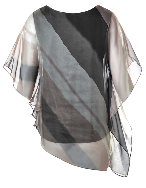 Neutral Striped Caftan Blouse, Stone Print, hi-res