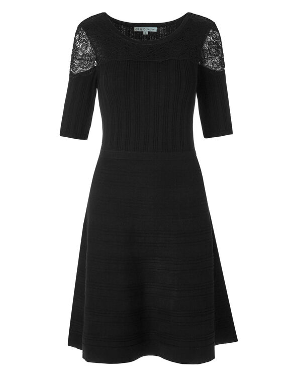 Black Lace Detail Sweater Dress, Black, hi-res