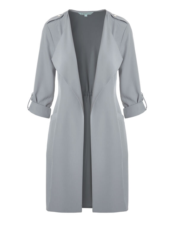 Grey Draped Open Front Soft Jacket, Light Grey, hi-res