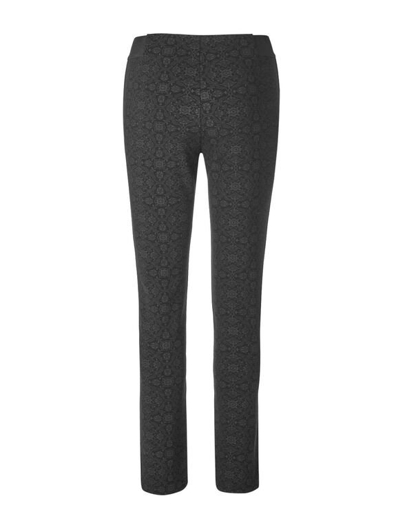 Black Printed Pullon Legging, Black, hi-res